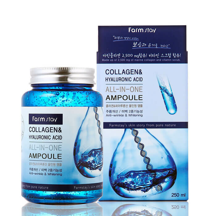 Сыворотка для лица Farm Stay Collagen & Hyaluronic Acid All-in-One Ampoule, 250 мл. фото 1 — BascoMarket